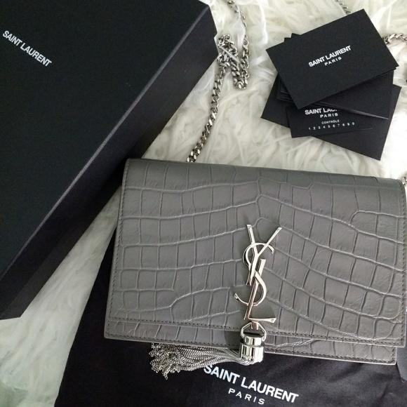 38de463ba0e5 YSL Kate Croc Embossed Tassel Wallet on Chain